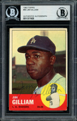Jim Gilliam Autographed 1963 Topps Card #80 Los Angeles Dodgers Beckett BAS #11317435
