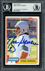 Efren Herrera Autographed 1981 Topps Card #469 Seattle Seahawks Beckett BAS #11317587