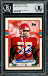 Derrick Thomas Autographed 1989 Topps Traded Rookie Card #90T Kansas City Chiefs Beckett BAS #11317887