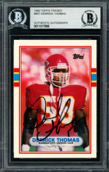 Derrick Thomas Autographed 1989 Topps Traded Rookie Card #90T Kansas City Chiefs Beckett BAS #11317888