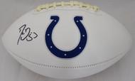 Sale!! Darius Leonard Autographed Indianapolis Colts White Logo Football Beckett BAS Stock #151202