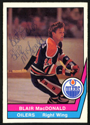 "Blair MacDonald Autographed 1977-78 WHA O-Pee-Chee Card #16 Edmonton Oilers ""Best Wishes"" SKU #151336"