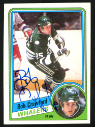 Bob Crawford Autographed 1984-85 Topps Card #53 Hartford Whalers SKU #152062