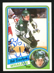 Bob Crawford Autographed 1984-85 Topps Card #53 Hartford Whalers SKU #152063