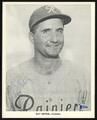 Ray Orteig Autographed 1956-59 Seattle Rainiers Popcorn 8x10 Premium Card 1956-59 Seattle Rainiers Beckett BAS #H44504