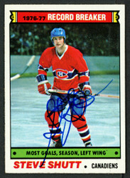 Steve Shutt Autographed 1977-78 Topps Card #217 Montreal Canadiens SKU #153381