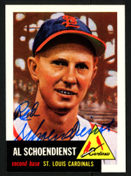 Red Schoendienst Autographed 1991 Topps Archives 1953 Topps Reprint Card #78 St. Louis Cardinals SKU #153429
