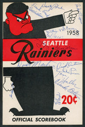 1958 Seattle Rainiers Autographed Official Scorebook With 15 Total Signatures Including Willie McCovey (Vintage) & Vada Pinson (Signed Twice) Beckett BAS #A62902
