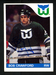Bob Crawford Autographed 1985-86 Topps Card #162 Hartford Whalers SKU #154167