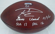"""Russell Wilson Autographed Seattle Seahawks Game Used NFL Leather Football """"Game Used 11/1/15 SEA 13  DAL 12"""" RW Holo #36231"""