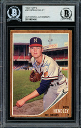 Bob Hendley Autographed 1962 Topps Card #361 Milwaukee Braves Beckett BAS #11481486