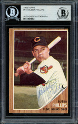 Bubba Phillips Autographed 1962 Topps Card #511 Cleveland Indians Beckett BAS #11481553