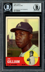 Jim Gilliam Autographed 1963 Topps Card #80 Los Angeles Dodgers Beckett BAS #11484483