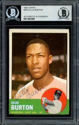 Ellis Burton Autographed 1963 Topps Card #262 Houston Colt .45's Beckett BAS #11481849