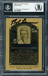 Bob Lemon Autographed 1982 Metallic HOF Plaque Card Cleveland Indians Beckett BAS #11482560