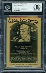 Willie McCovey Autographed 1986 Metallic HOF Plaque Card San Francisco Giants Beckett BAS #11482645