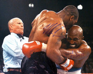 Mike Tyson & Evander Holyfield Autographed 16x20 Photo Bite Fight Beckett BAS Stock #155788