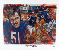 "Dick Butkus Autographed 25x30 Lithograph Photo Chicago Bears ""HOF 79, #51"" Artist Proof #3/50 Beckett BAS #Q00094"