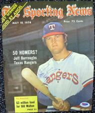 Jeff Burroughs Autographed Newspaper Photo Texas Rangers PSA/DNA #T19839