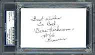 "Gene Hickerson Autographed 3x5 Index Card Cleveland Browns ""Best Wishes To Rod"" PSA/DNA #83721468"