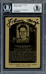Johnny Mize Autographed 1982 Metallic HOF Plaque Card New York Yankees Beckett BAS #11628132