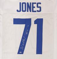 """Seattle Seahawks Walter Jones Autographed White Jersey """"HOF '14"""" MCS Holo Stock #157868"""