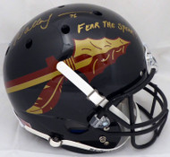 "Walter Jones Autographed Florida State Seminoles Full Size Black Chrome Helmet ""Fear The Spear!"" MCS Holo #50485"