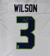Seattle Seahawks Russell Wilson Autographed White Nike Twill Jersey Size XL RW Holo Stock #159118