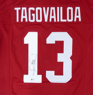 Alabama Crimson Tide Tua Tagovailoa Autographed Red Jersey Beckett BAS Stock #159212