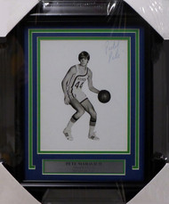 Pistol Pete Maravich Autographed Framed 8x10 Photo Atlanta Hawks JSA #Y33319