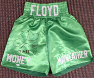 "Floyd Mayweather Jr. Autographed Green Boxing Trunks ""TMT"" Beckett BAS Stock #159663"