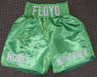 "Floyd Mayweather Jr. Autographed Green Boxing Trunks ""TBE"" Beckett BAS Stock #159664"