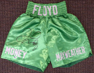 Floyd Mayweather Jr. Autographed Green Boxing Trunks Beckett BAS Stock #159665