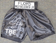"Floyd Mayweather Jr. Autographed Black Boxing Trunks ""TMT"" Beckett BAS Stock #159667"