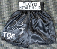 Floyd Mayweather Jr. Autographed Black Boxing Trunks Beckett BAS Stock #159668