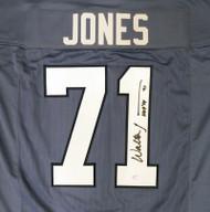 """Seattle Seahawks Walter Jones Autographed 2002-2011 Blue Jersey """"HOF '14"""" MCS Holo Stock #159816"""