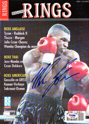Mike Tyson Autographed Rings Magazine Cover Vintage PSA/DNA #Q65586