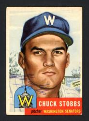 Chuck Stobbs Autographed 1953 Topps Card #89 Washington Senators SKU #161587