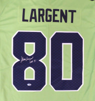 "Seattle Seahawks Steve Largent Autographed Nike Action Green Twill Jersey Size XL ""HOF 95"" MCS Holo Stock #161513"