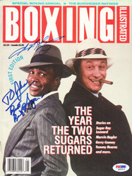 Sugar Ray Leonard & Bert Sugar Autographed Boxing Illustrated Magazine Cover PSA/DNA #Q95613