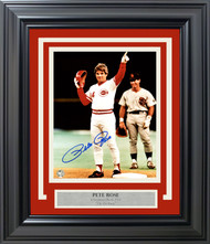 Pete Rose Autographed Framed 8x10 Photo Cincinnati Reds 4256 Shot PR Holo Stock #162382