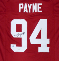 Alabama Crimson Tide Daron Payne Autographed Red Jersey Beckett BAS Stock #160987