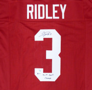 "Alabama Crimson Tide Calvin Ridley Autographed Red Jersey ""13, 17 Nat'l Champs"" Beckett BAS Stock #160984"