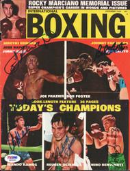 Joe Frazier, Nino Benvenuti, Reuben Olivares, Mando Ramos & Bob Foster Autographed International Boxing Magazine Cover PSA/DNA #Q95569