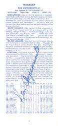 Ken Aspromonte Autographed 1973 Cleveland Indians Press Media Guide SKU #162924