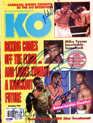 Boxing Greats Autographed KO Boxing Magazine Cover Including Mike Tyson & Riddick Bowe PSA/DNA #S01524