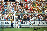 "Pele & Gordon Banks Autographed 20x30 Canvas Photo ""The Greatest Save"" 1970 World Cup Beckett BAS Stock #163880"