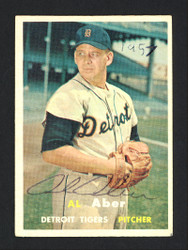 Al Aber Autographed 1957 Topps Card #141 Detroit Tigers SKU #164179