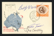 Ron Tomsic, Tom Courtney & Bobby Morrow Autographed First Day Cover 1956 Olympics SKU #164936