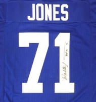 """Seattle Seahawks Walter Jones Autographed Blue Jersey """"HOF '14"""" MCS Holo Stock #165118"""